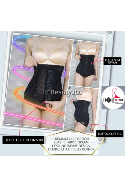 PREMIUM FLORA LACE EXTRA HIGH WAIST GIRDLE SLIM PANTY (READY STOCK)